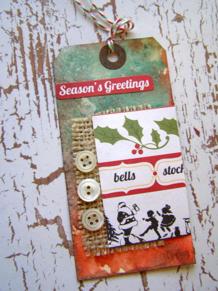 Seasons Greetings grungy Christmas tag