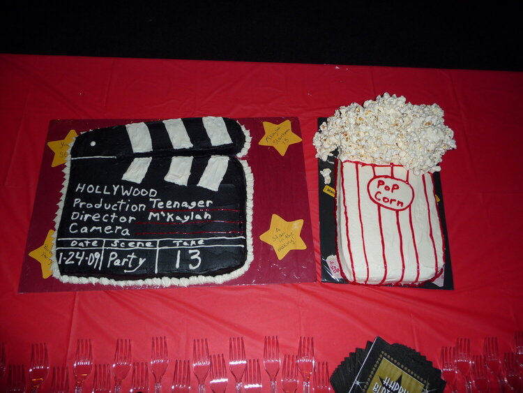 Clap board and popcorn cakes