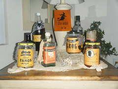 Halloween labeled bottles