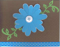 Blue and Brown Button Flower Card