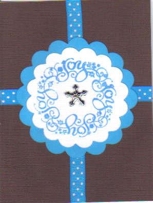 Brown and Blue JOY Christmas Card