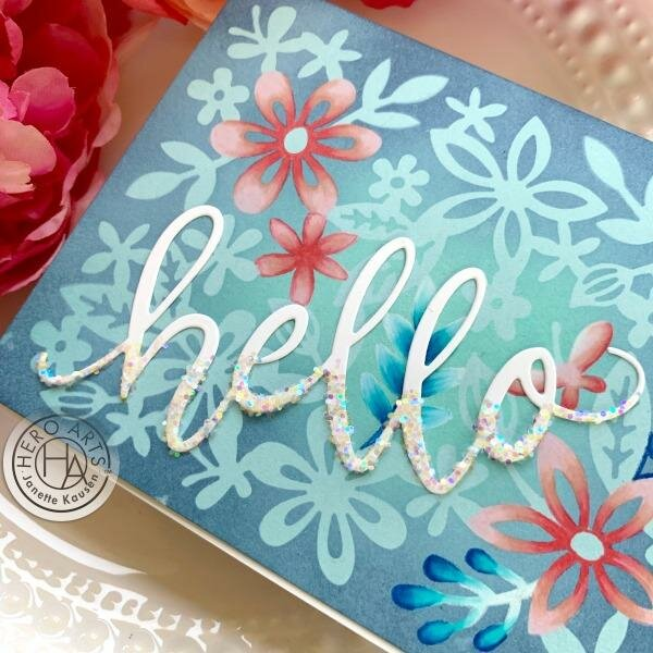 Die Cut Floral Stencil Thank You Card