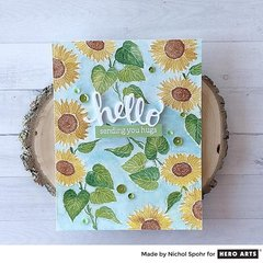 SUNFLOWER STEM BACKGROUND WITH LIQUID WATERCOLORS by Nichol Spohr