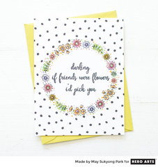 One Layer Floral Wreath Card