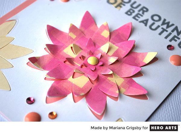 Paper Layering Large Lotus Card by Mariana Grigsby for Hero Arts