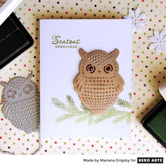 Seasons Greetings Owl Card by Mariana Grigsby
