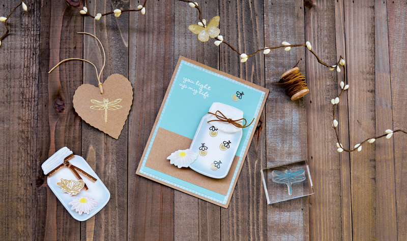 You Light Up My Life by Hero Arts featuring Mason Jar Bugs clear stamp and Frame Cuts