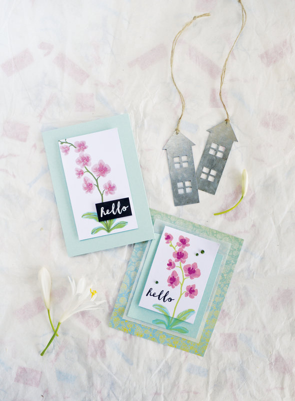 Hello by Hero Arts featuring Color Layering Orchid in a Pot clear stamp and Frame Cuts