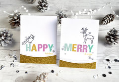 Happy Merry Origami Holiday Stamps