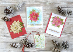 Merry Christmas Antique Poinsettia stamp and die from Hero Arts