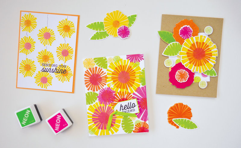 Color Layering Flowers Card by Sally Traidman