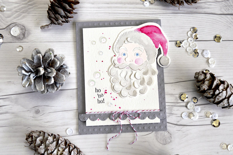 Ho Ho Ho with Hero Arts Paper Layering Santa Face with Frame