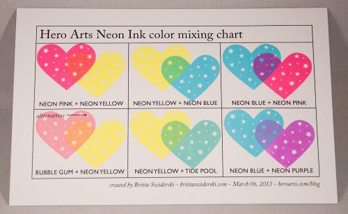 Hero Arts Neon Ink Color Mixing Chart
