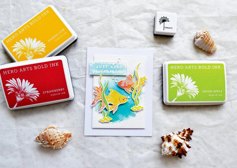 Color Layering Fish Card by Yana Smakula