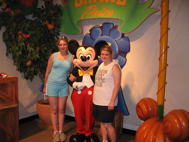 Nicole, Julie with Mickey Mouse