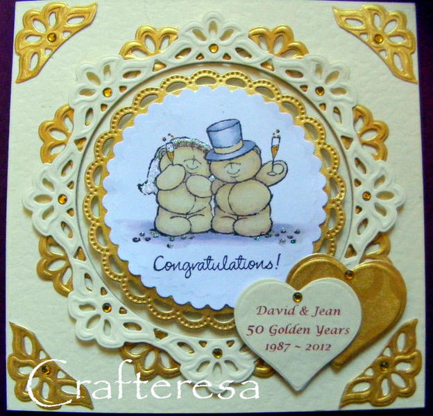 Golden wedding anniversary 50 years personalised card forever friends card