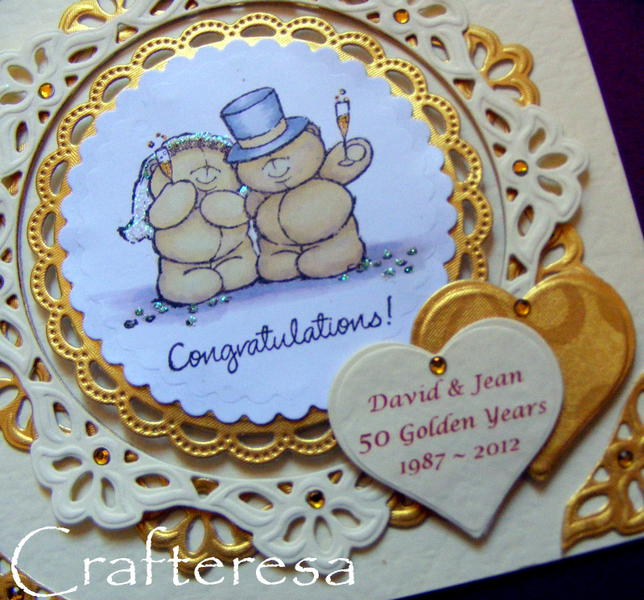 golden wedding anniversary card forever friends personalised hearts
