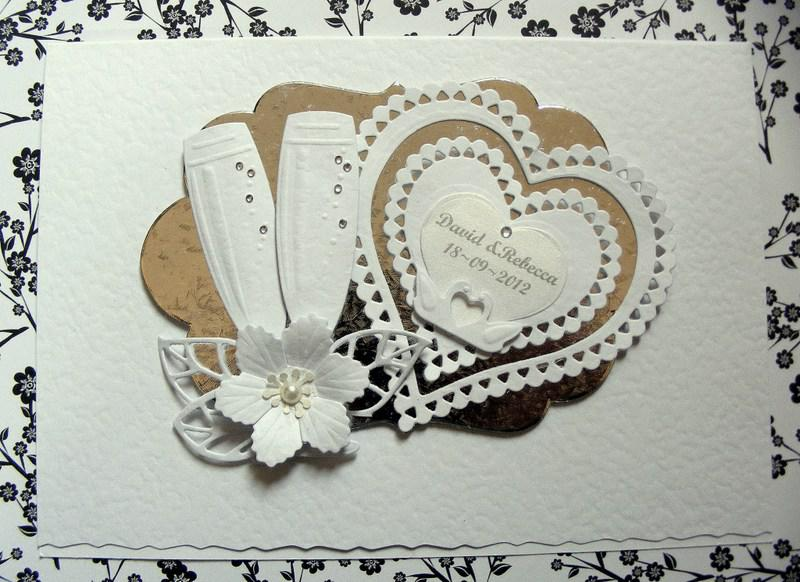 wedding or anniversary card hearts and champagne glasses