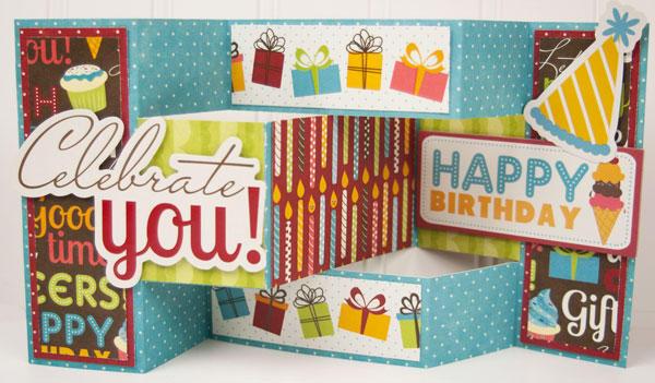 """""""Celebrate You"""" Tri Shutter Fold Card *Imaginisce*"""