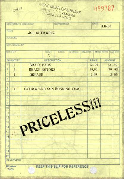 """fake recipt - """"Father & Son bonding time... Priceless!!"""""""