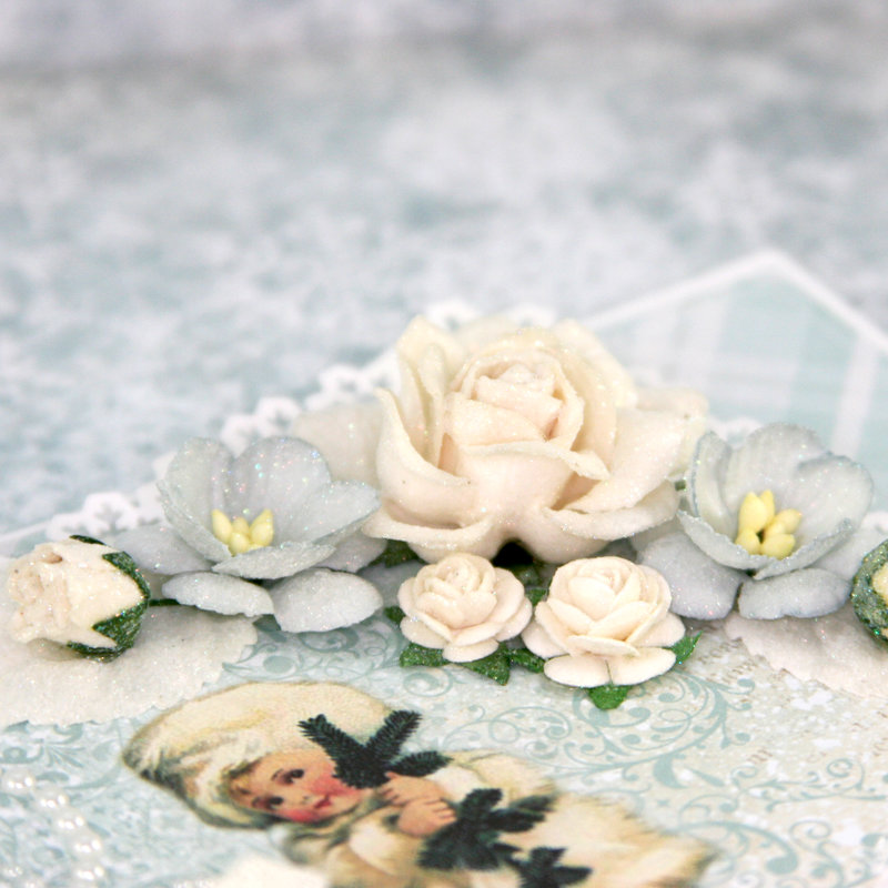 """Card using """"Frozen Paper"""" by Craft & You Design ~ Glittered Flowers"""
