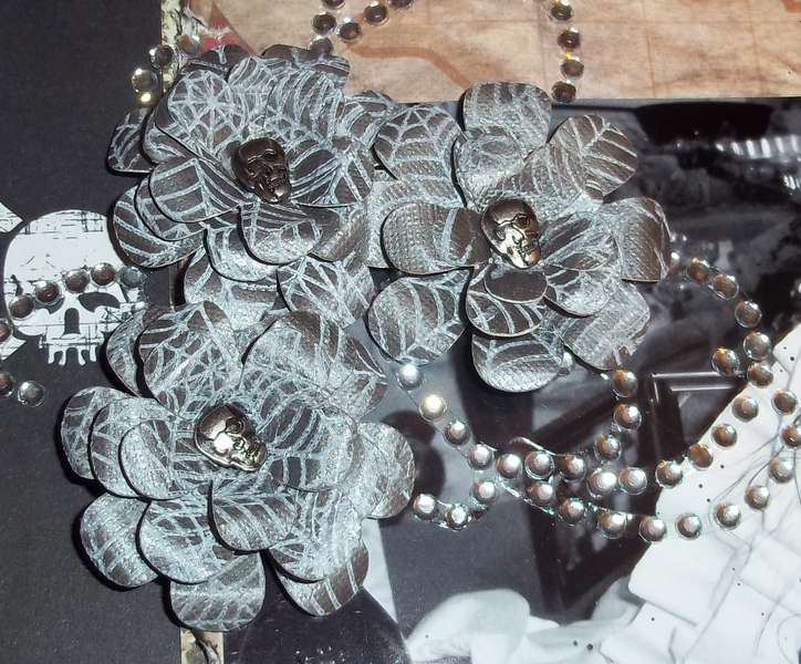 Handmade Flowers with skull brads that I made