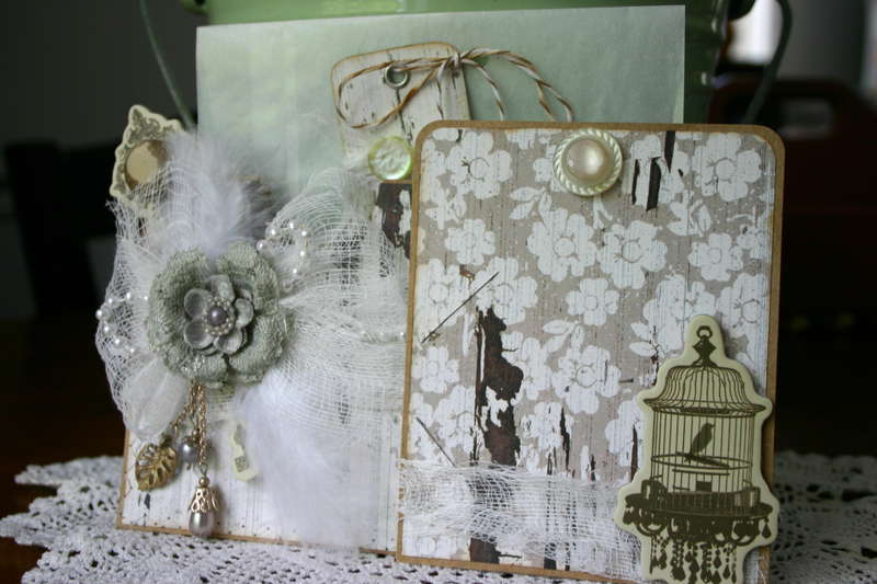Shabby Chic Gift Card Holder with Glassine Envelope & Tag