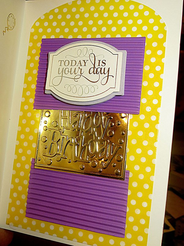 "Inside of My ""Embossed Purple Happy Birthday"" Card with Swiss Dot Lace Ribbon"