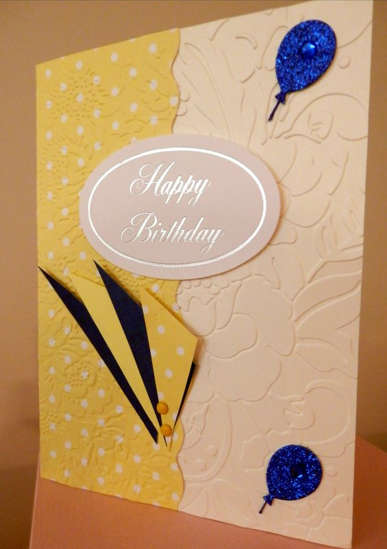 Blue/Yellow/Ivory Birthday Card - Anna Griffin and Cuttlebug Embossing