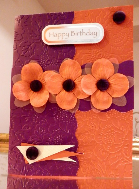 Purple / Orange Floral Birthday Design
