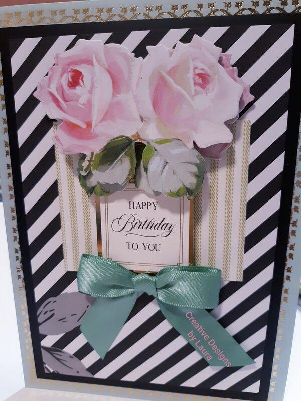 Happy Birthday Striped Card