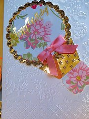 Birthday Pink/Gold and White Diagonal Design Layout