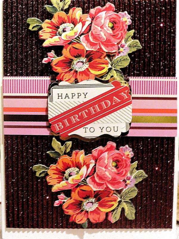 Birthday Wishes with Dark Brown Glittered Corrugated Cardstock