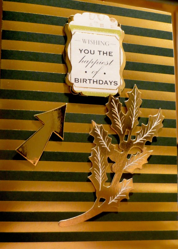 Happy Birthday with Stripes and Gold - Masculine