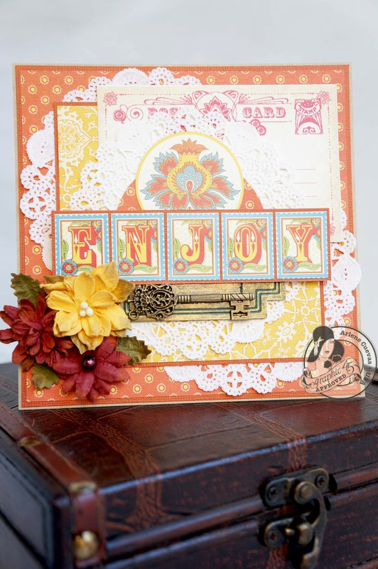"*Graphic 45* Bohemian Bazaar ""Enjoy"" card"
