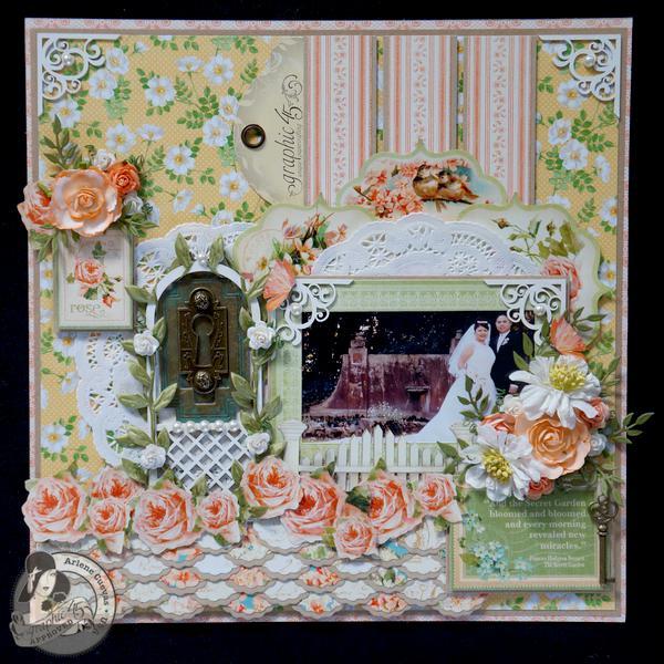 *Graphic 45* Secret Garden 12x12 Wedding Scrapbook Page