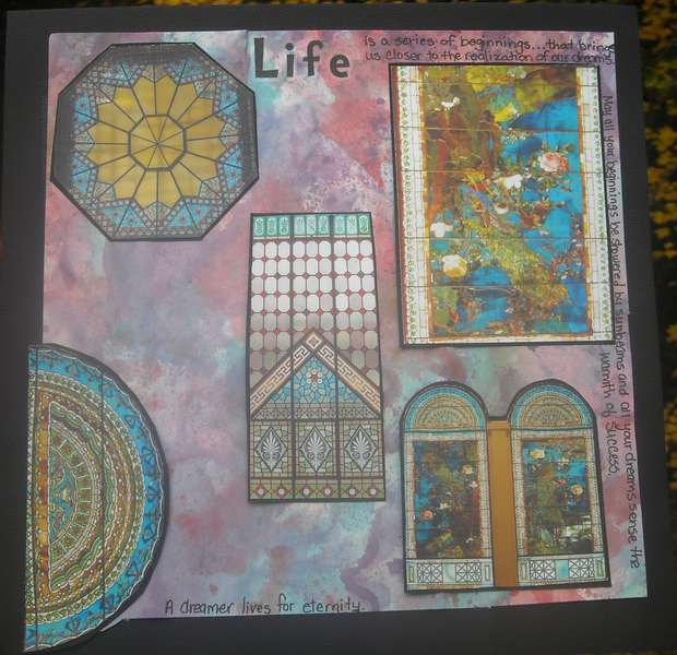 LIFE stained glass window l/o