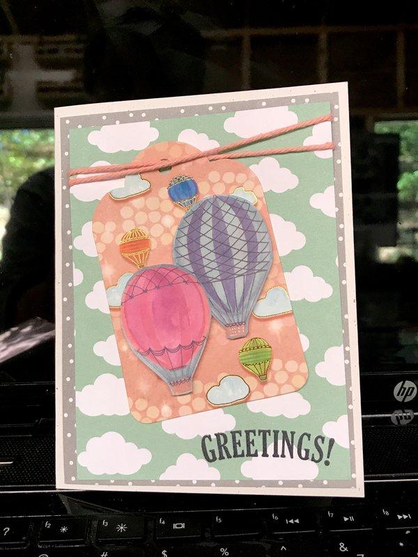Greetings Hot Air Balloon Tag Card