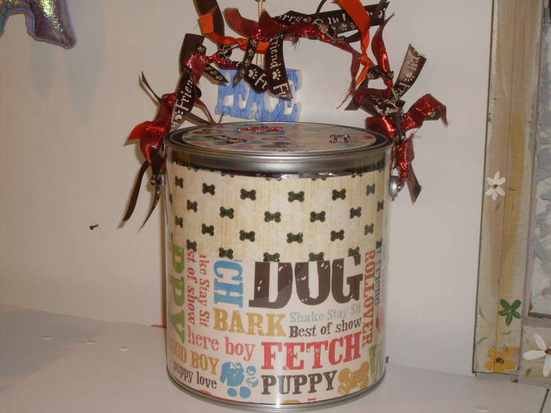 Altered Paint Can for my Friend and her Puppies