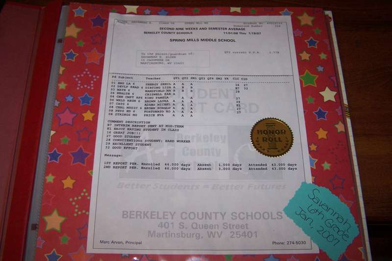 Report Card - Middle School - January 2007