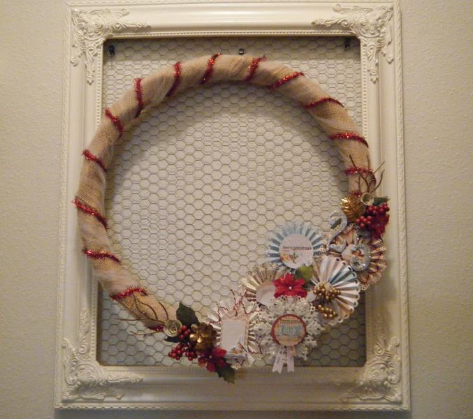 Burlap and Paper Rossettes Christmas Wreath