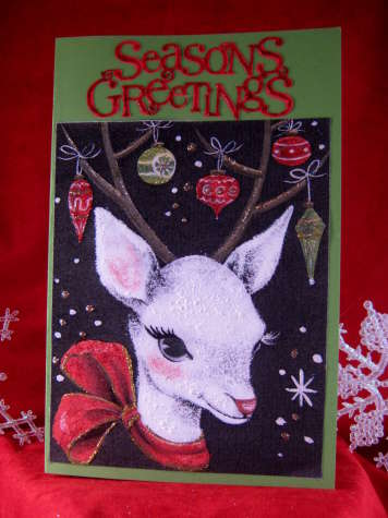 Season's Greeting Reindeer & Ornaments Card
