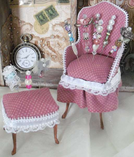 Grandma's Chair and Stool Pin Cushion