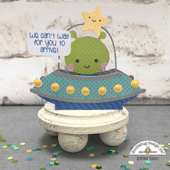 Doodlebug Design | Space Ship Baby Shower Box Card