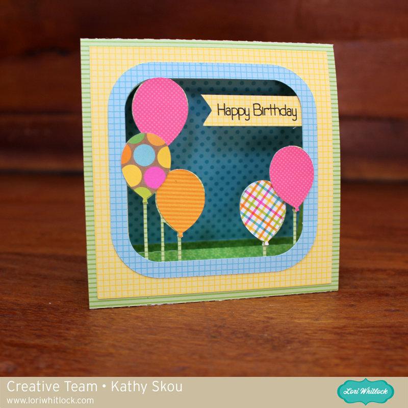 Lori Whitlock 3d Happy Birthday Balloon Card with matching envelope