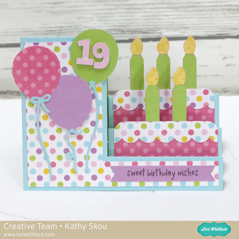 Lori Whitlock Side Step Birthday Card