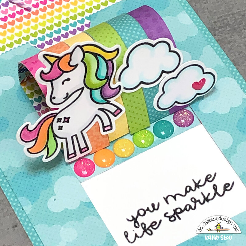 Doodlebug Design | Rainbows & Unicorns Slider Card