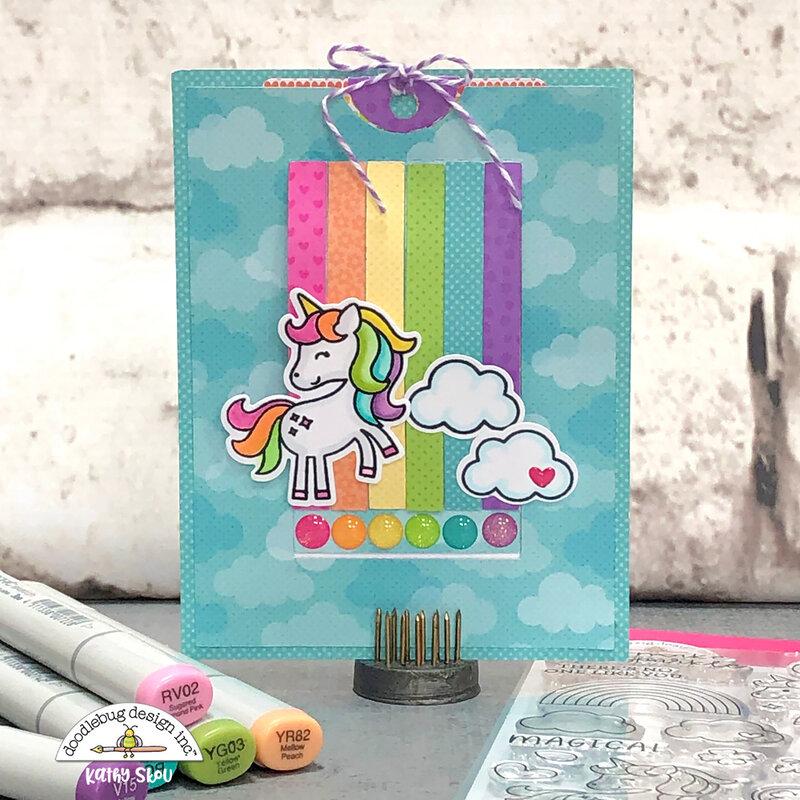 Doodlebug Design   Rainbows & Unicorns Slider Card