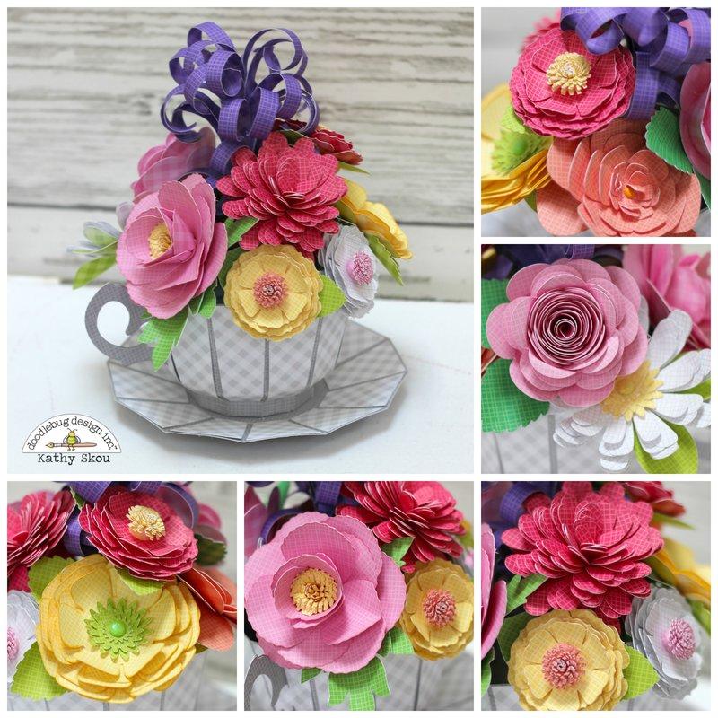 *** Doodlebug Designs *** Teacup Floral Arrangement