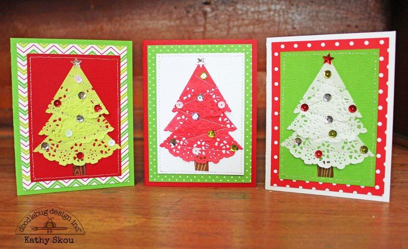 *** Doodlebug Design *** Doily Tree Christmas Cards